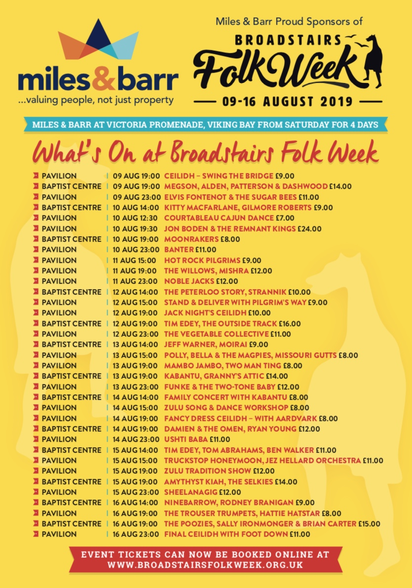 Broadstairs Folk Week 2019 Lineup